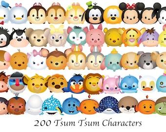 TSUM TSUM. 200 High Resolution Digital Clipart. Disney Tsum Tsum Birthday Party. Baby shower. Party Supplies.