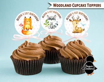 Woodland Cupcake Topper. Woodland Birthday Party. Woodland Baby Shower. Party Supplies. Digital File
