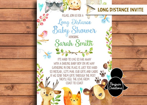 Long Distance Baby Shower Invitation Woodland Themed Baby Shower Woodland Blue
