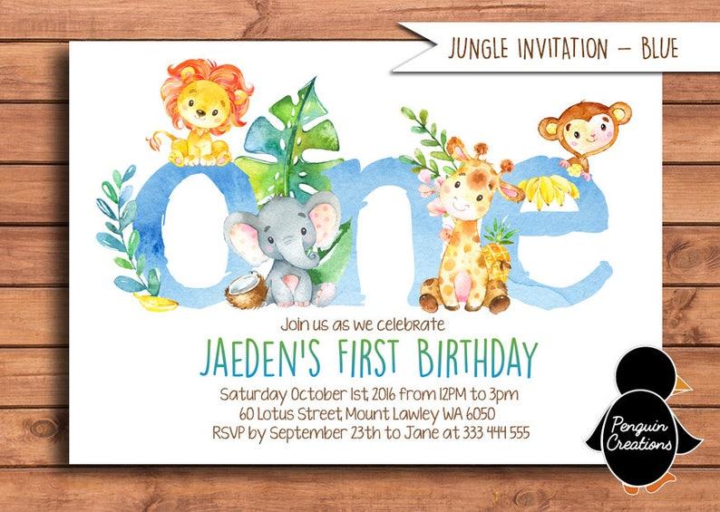 Jungle Animal Birthday Invitation Jungle First Birthday Etsy