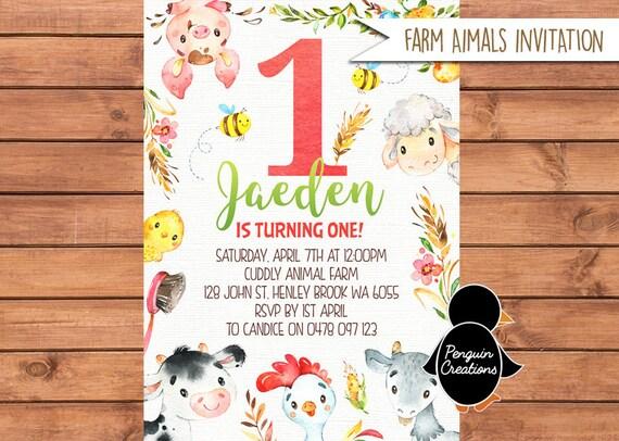 Bauernhof Geburtstag Einladung Bauernhof Tier Bauernhof Partei Etsy