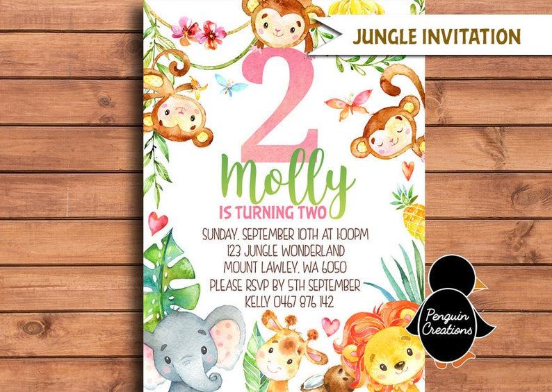 Jungle Animals Invitation Girl Animal Themed Birthday Party
