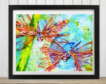 Dragonfly, Dragonfly art,  Art print, Wall art, Dragonfly decor, Dragonfly wall art, Dragonflies, Dragonfly gift, Insect art, Colorful art