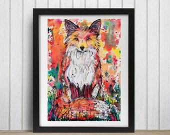 Watercolor fox, Fox decor, Woodland decor, Fox art print, Red fox art
