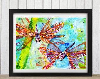 Dragonfly art print, Dragonfly decor, Dragonfly wall art, Dragonflies, Bug art, Dragonfly gift, Insect art, Bug art
