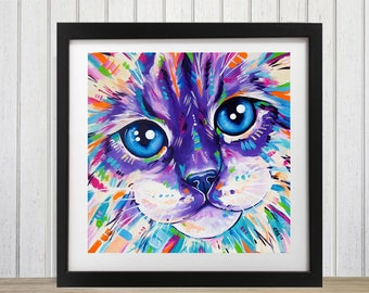 Ragdoll cat art, Cat decor, Cat wall decor, Cat wall art decor,  Cat lover gift, Cat theme gift, cat art print, animal art, abstract cat
