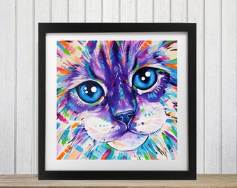 Cat wall art, Brightly colored, Ragdoll cat, Cat lover gift, Cat art print, Cat decor