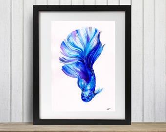 Betta fish, Blue, Betta fish print, Betta, Tropical fish art, Art prints, Tropical decor, Siamese fighting fish, Siamese fighter, Watercolor