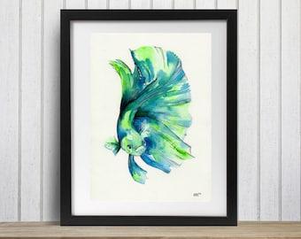 Betta fish art, Fish art print, Siamese fighter, Fish Decor, Fish Wall art, Green betta fish, Siamese fighting fish