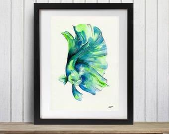Fish Art Print, Betta, Siamese fighting fish, Siamese fighter, Tropical fish, Watercolor fish art, Betta art print, Betta fish art
