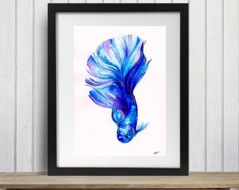 Fish Art Print, Blue Betta Fish, Betta fish wall art, Tropical fish art, Siamese fighting fish, Fish decor