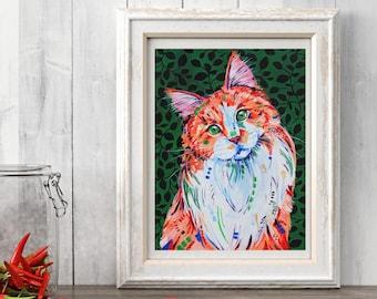 Cat art print, Cat wall art decor, Ginger cat, cat lover gift,  Cat lover decor