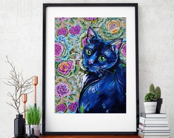 Black cat art print, Cat wall decor, Feline Art, Floral cat art