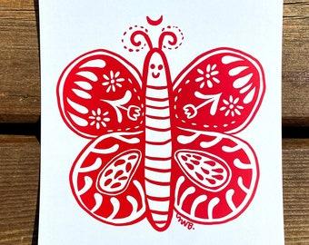 Butterfly Slavic folklore art print set, eastern European illustration, folk art girlfriend gift idea, polish funky style home decor