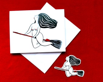 Flying broomstick naked witch magic greeting card, witchy girlfriend wife valentine's day greeting card, witch sticker small gift idea