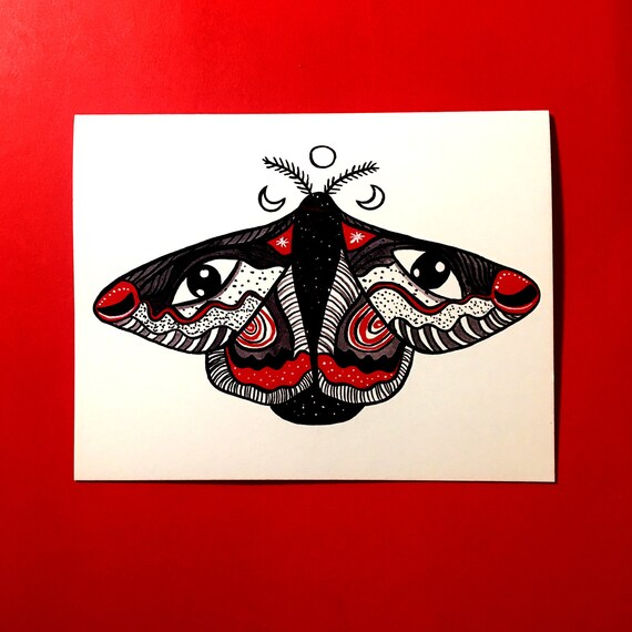 WITCH Moth CARD, magic witch card, occult card, witchcraft art gift, witchy  gift for her, best friend card, magic gift, occult gift