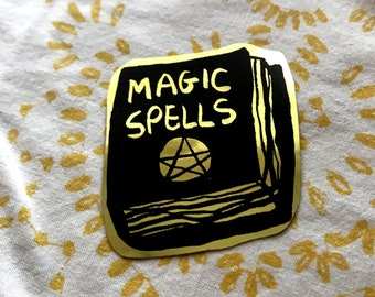 Magic Witch Spell Book Gold Sticker, witchy gift idea, gold occult sticker, witchcraft art, small girlfriend gift idea, spell magick sticker