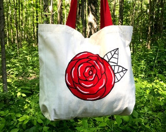 Handpainted canvas Tattoo Rose Tote bag, rose art cotton tote bag, thick fabric tote bag, girlfriend wife birthday cute gift idea