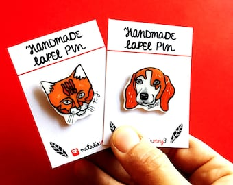 CUSTOM Personalized pet portrait lapel pin, custom christmas holiday gift, pet death cat dog pin portrait ornament, custom cute gift idea