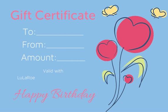 birthday gift certificate 4x6 | etsy