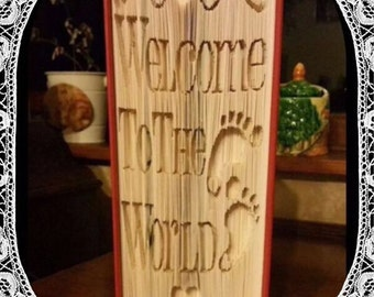 Welcome To The World New Baby Book Folding Art Pattern New Born Gift