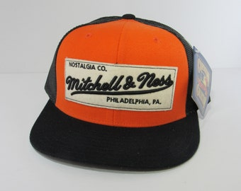 d044c4807ed Orange and Black Vintage Rare Mitchell and Ness Deadstock Snapback Truck Hat  Cap Cooperstown Collection NWT