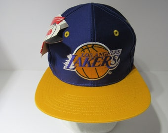 7f3f02c5fb315d Vintage Rare 90s NBA Los Angeles Lakers Snapback Deadstock Cap Hat ADJ NWT
