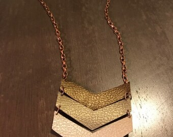 chevron faux leather necklace