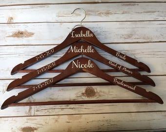 Bridal party hangers, Bride hangers, Bridesmaid hangers, Wedding party hangers, Personalized wedding hangers, Custom wedding hangers, Hanger