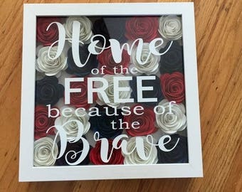 Patriotic decor, Flower Shadowbox, Paper flowers, Home of the free, Military family, Home decor, Military Mom gift, Military wife gift