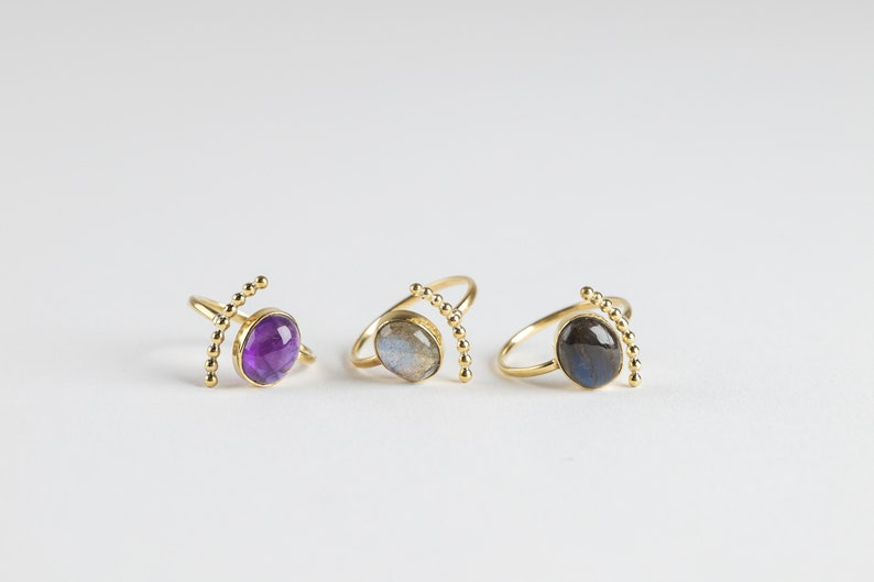 Olivia ring gold ring with stone boho handmade fairtrade