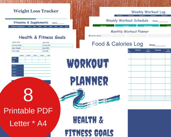 graphic regarding Printable Weight Loss Calendars referred to as Training Planner and Conditioning Application Printable Conditioning Calendar Exercise routine Log Body weight Decline Tracker Foods and Energy Log Letter A4 PDF