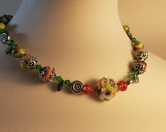 Necklace - Rose Garden Lampwork - NE005