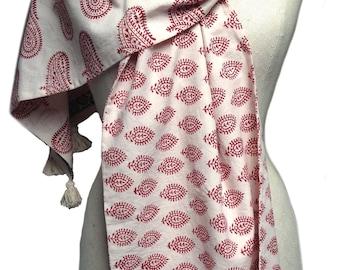 Ooak, Cotton scarf, Cotton scarf women, Yoga, Yoga gifts, Block print, Indian fabric, Paisley fabric, Red paisley scarf, Paisley block print