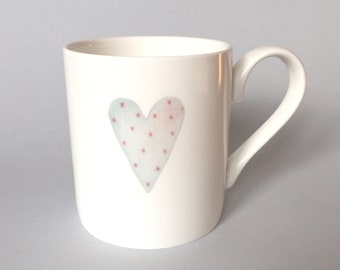 Bone china mug with heart. Free P&P