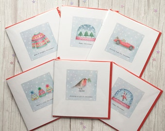 Set of 6 Christmas cards. Free P&P