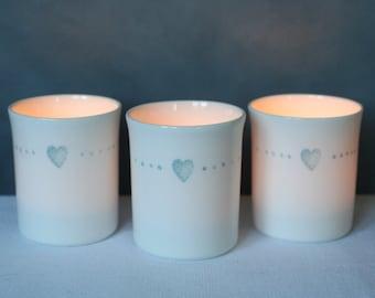 Bone china candle holders. Free P&P