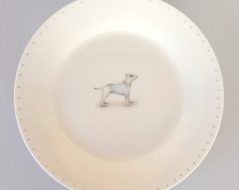 Bone china side plate with Bull Terrier. Free P&P