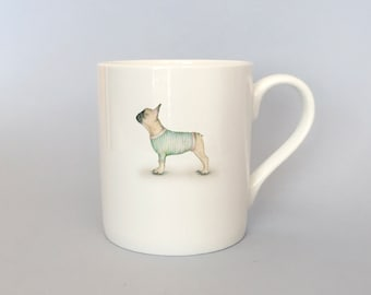 Bone china French bulldog mug.   Free P&P