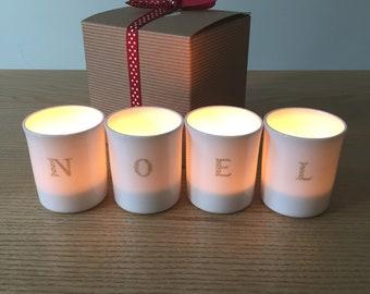 NOEL Christmas candle holders .