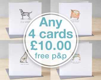 Choose any four greeting cards for ten pounds. Luxury greeting card pack. Pick and mix cards.