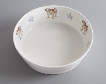 Bone china dog bowl with English bulldog. Free P&P