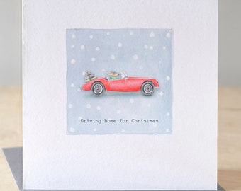 Driving home for Christmas card. Free P&P