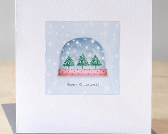 Tree snow globe card. Free P&P