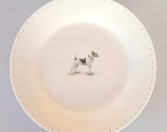 Bone china side plate with Jack Russell. Free P&P