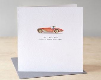 Sports car birthday card. Free P&P