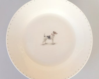 Bone china side plate with Jack Russel. Free P&P