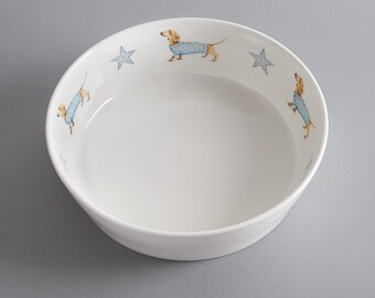 Bone china dog bowl with Sausage Dog. Free P&P
