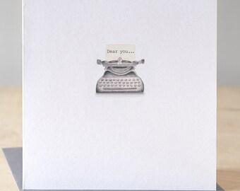 Vintage typewriter card. Free P&P