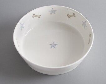 Bone china dog bowl with stars and bones